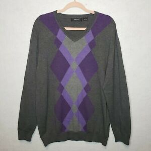 Claiborne-Mens-Sweater-Argyle-100-Cotton-Gray-Purple-Diamond-V-Neck-Size-Large