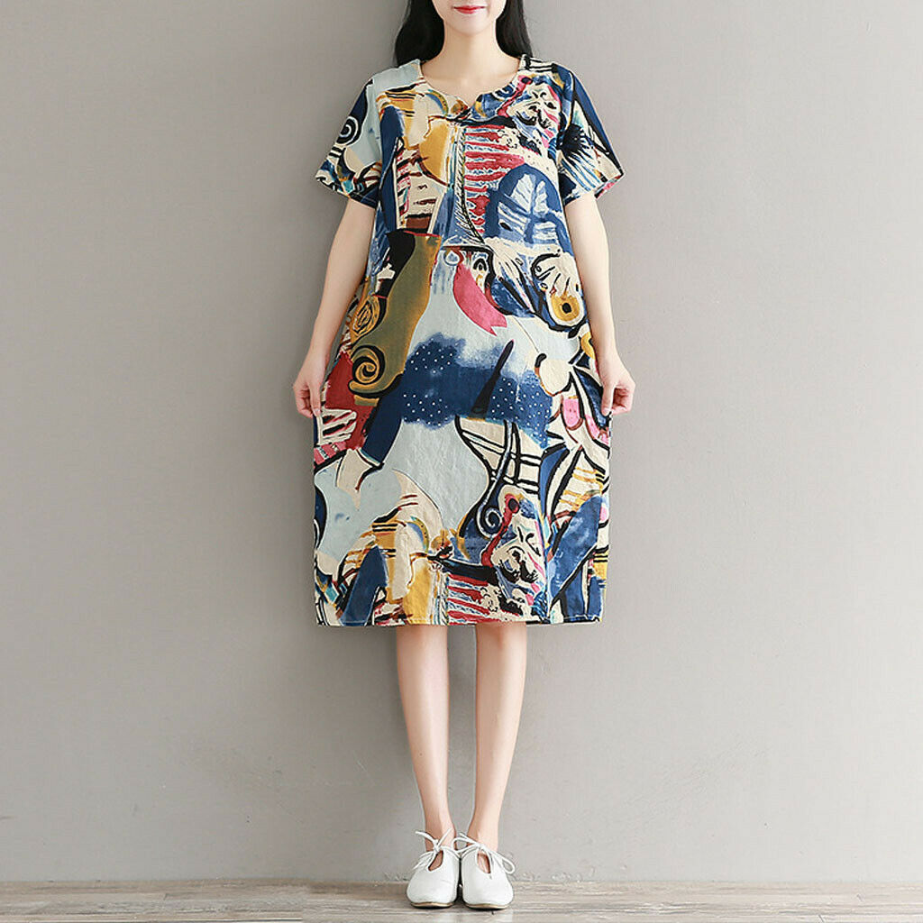 Womens V-neck Vintage Abstract Print Short Sleeve cotton Linen Casual Dress