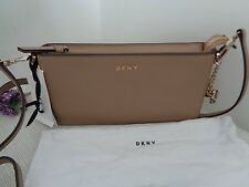 BNWT DKNY Natural Bryant Park Top Zip Saffiano Leather Gold Chain Shoulder Bag