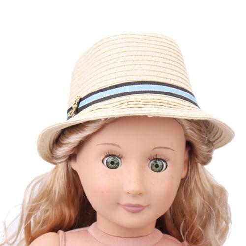 Elegante Puppe Bowler Hut Strohhut Cap für 18 Zoll AG American Doll Puppe