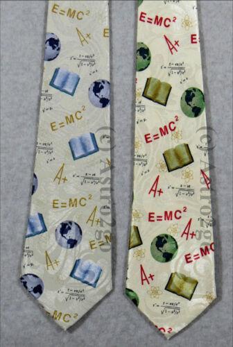 A E=MC2 EARTH GLOBE TEXTBOOK ATOMS MATH SCIENCE TEACHER Steven Harris Necktie