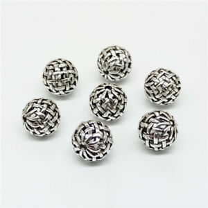5-of-925-Sterling-Silver-Bow-Knot-Basket-Weave-Round-Ball-Bead-10mm-for-Bracelet
