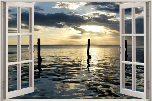 3D Effect Window View Sea Ocean Shore Sticker Wall Poster Vinyl GA1-329