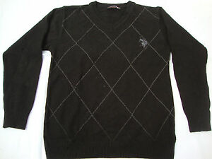 Polo Sport Ralph Lauren Black Sweater Mens Solid Square Design V ...