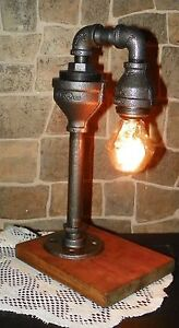 Retro Industrial Pipe Waterspout style Desk Lamp w/Gem BulB ,Assembled in USA