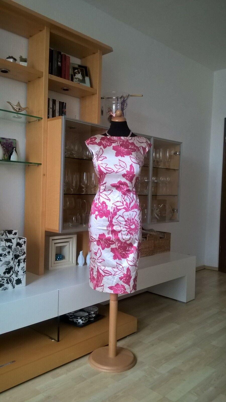 COAST Etui Kleid Cocktail beere weiß Satin Gr 38 sehr edlel und elegant