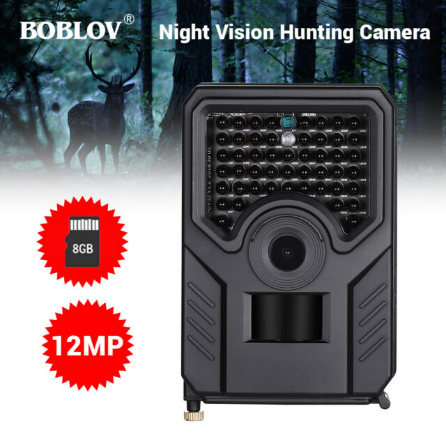 BOBLOV 12MP 1080P Hunting Security Camera With 8GB Card Waterproof 120°FOV Lens