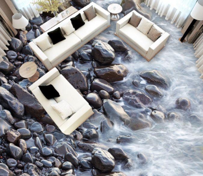 3D Smooth Stone Smoggy Floor WallPaper Murals Wall Print Decal 5D AJ WALLPAPER