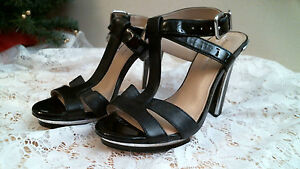 ANTONIO-MELANI-size-7-M-BLACK-leather-T-STRAP-HEELS-open-toe-ankle-strap-sandals