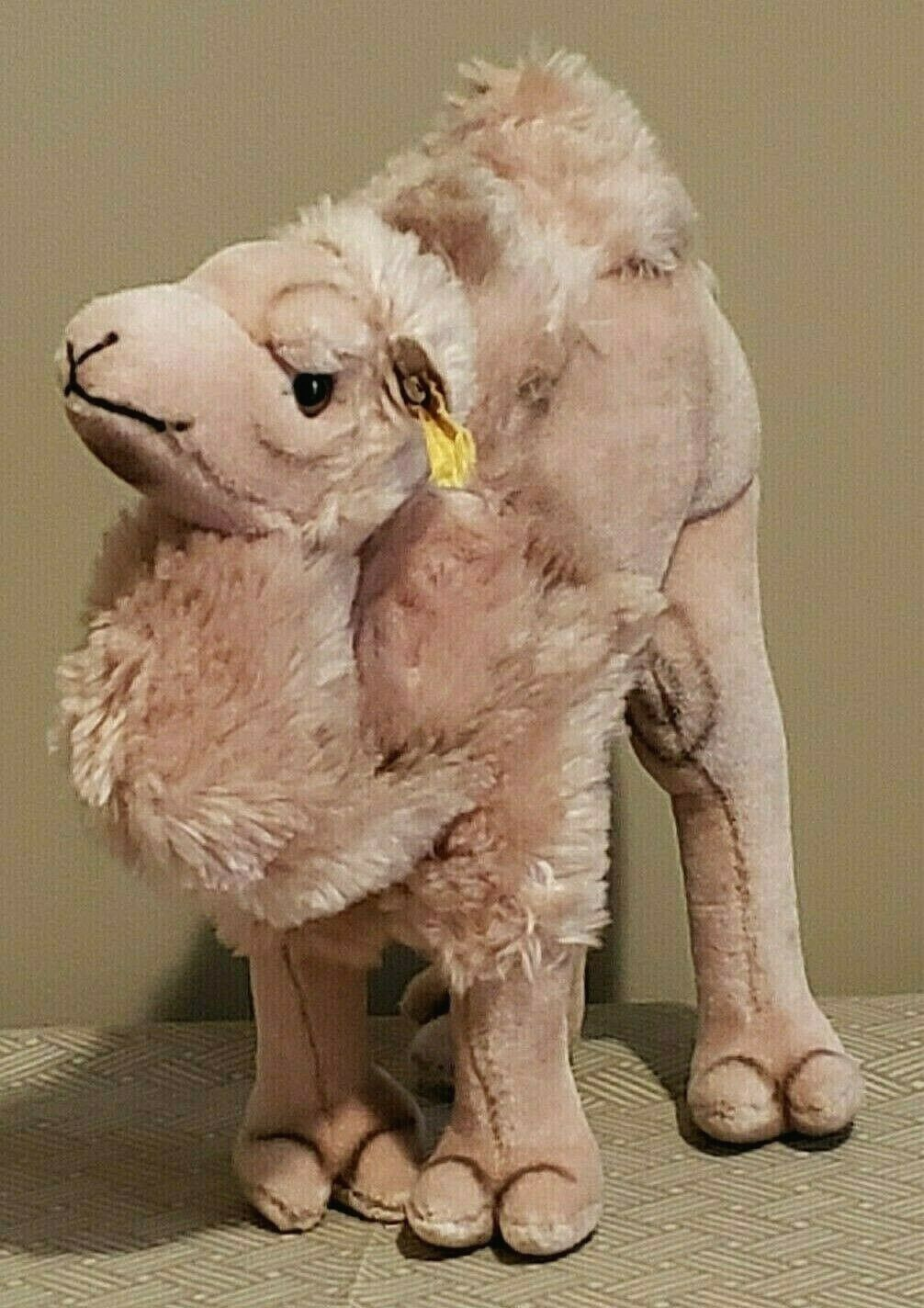 Vintage  Steiff Cosy Camel Dralon Plush 11  Two humps Early 1970's w Button