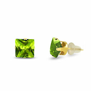 Image Is Loading 10k Yellow Gold Square Stud Earrings Olive Green