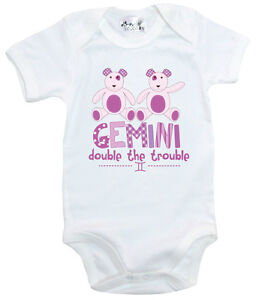 Dirty-Fingers-034-Gemini-Double-the-Trouble-034-Bodysuit-Babygrow-Zodiac-Star-Sign