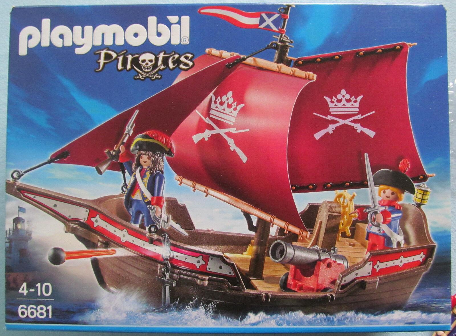 PLAYMOBIL Pirates 6681 Soldaten-Kanonensegler + 6684 Kapitän + 6434 Piraten, OVP