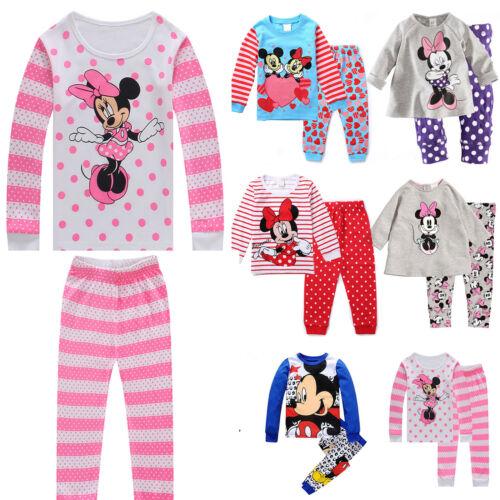 Girls Boys Cartoon Minnie Mickey Mouse Outfits Sets Sleepwear Nightwear Pajamas