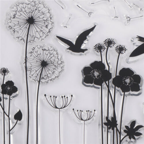 Dandelion and bird Pattern Scrapbooking Decorating Rubber Stamp Clear Stamps FEH