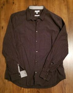 Calvin-Klein-Brown-Plaid-Non-Iron-Infinite-Cool-Button-Down-Dress-Shirt-Men-s-L