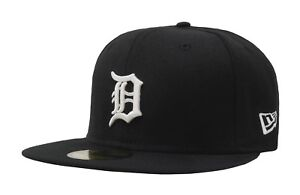 New-Era-59Fifty-MLB-Baseball-Cap-Detroit-Tigers-Black-White-Fitted-Hat-5950