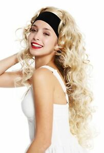 Peruecke-Damenperuecke-Stirnband-lang-lockig-gelockt-voluminoes-Blond-gestraehnt