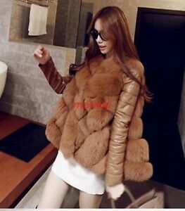 Womens Pieced Fox Jakke Overcoat Fashion Frakke Cape Outwear Fur Vinter Faux Varm g1w1dHxf