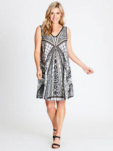 Crossroads-V-neck-easy-pull-on-stretchy-beach-party-dress-size-20-NEW