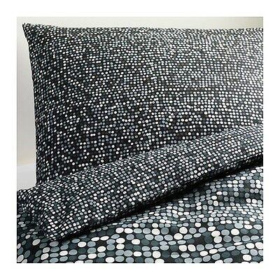 IKEA King Quilt cover SMORBOLL Duvet Cover 2 Pillowcases Black Gray Circles New