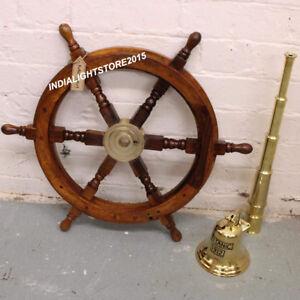 "24/"" Boat Ship Large Wooden Steering Wheel Nautical Wall Decor"