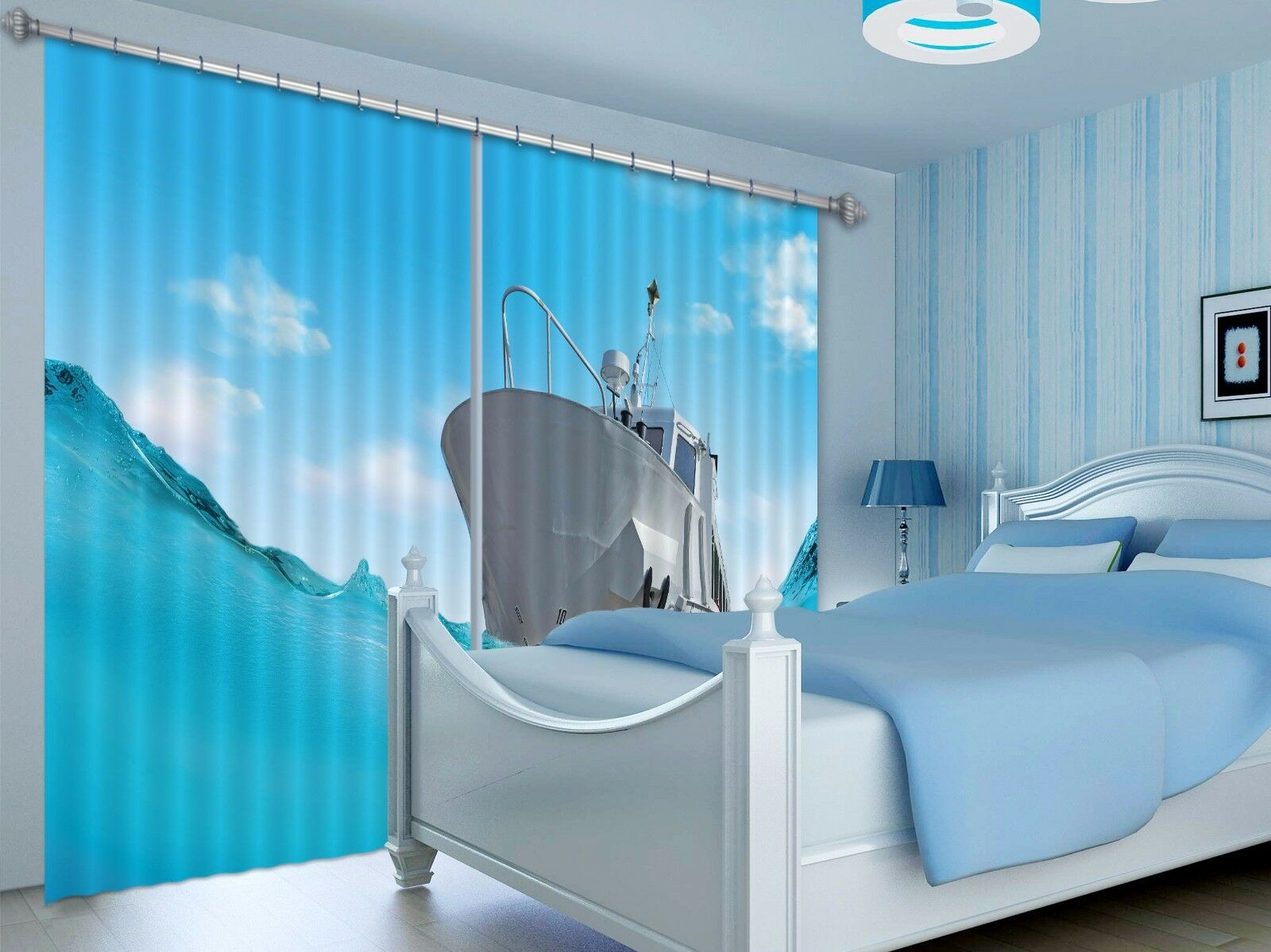 3D Ship blanco 7 Blockout Photo Curtain Print Curtains Drapes Fabric Window