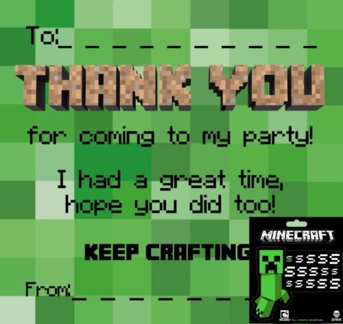 Notes Party with Official Minecraft Sticker Thankyou Cards