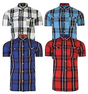 Firetrap-Hombre-Nuevo-Manga-Corta-Cuadros-Camisa-Estilo-Retro-Informal-Inteligente-Blanco-Azul-Rojo