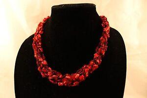 Adjustable-Crochet-Red-Yarn-Necklace-Scarf-Handmade-ladder-Christmas-Valentine