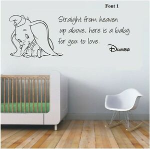Image Is Loading Wall Stickers Dumbo The Elephant Straight From Heaven