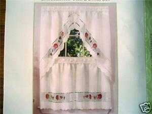 Applique Rambling Rose Tier And Swag Curtains Set Ebay
