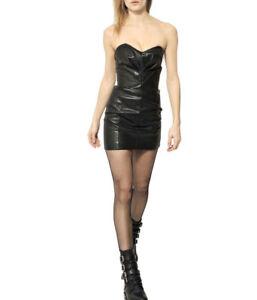 4b45a87bcc6 SAINT LAURENT $3,790 black leather heart pleat runway bustier mini ...