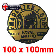 Royal Enfield Sticker Made Like A Gun Decals Gold Black Large 10cm 100mm
