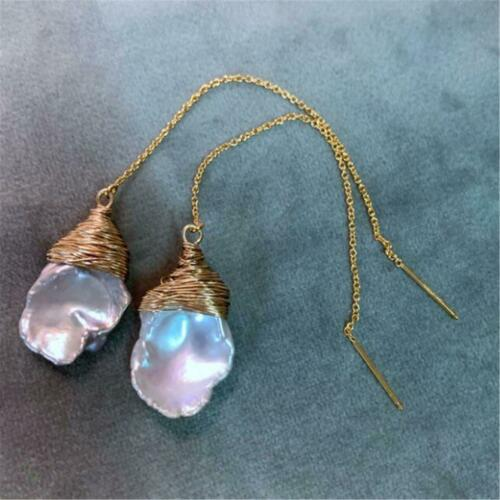Details about  /Natural Light Purple Baroque Pearl Earrings Ear Drop Dangle Cultured Natural