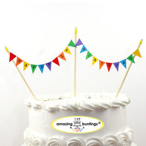 Image Is Loading Happy 1st Birthday Bunting Cake Topper With 4Poles