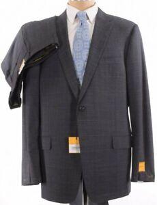 Hickey-Freeman-NWT-Suit-Sz-46L-Gray-Blue-Glen-Plaid-Loro-Piana-S150-039-s-1-795