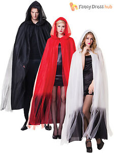Image is loading Deluxe-Ladies-Hooded-Layered-Long-Cape-Halloween-Fancy-  sc 1 st  eBay & Deluxe Ladies Hooded Layered Long Cape Halloween Fancy Dress Ghost ...