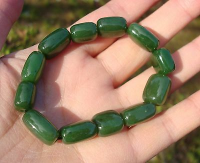 Canadian Top Grade Bright Green Jade Irregular 12 mm 12 PCs  Beads Bracelet