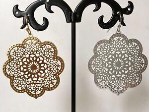 18K-Gold-Filled-Silver-Large-Flower-Filigree-Drop-Dangle-Earrings-Disc-Women