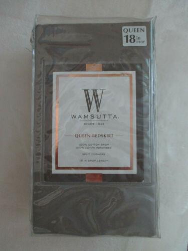 "New Wamsutta Solid Canvas Silver Queen Bedskirt 18"" Drop 400 Thread Count"