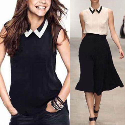 Summer Women Sleeveless Chiffon Shirt Loose Tops Vest Ladies Office Blouse S-2XL