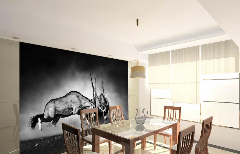 3D Fighting Cattles 8 Wall Paper Murals Wall Print Wall Wallpaper Mural AU Lemon