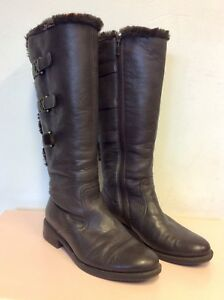 5 Dark Leather Boots Fur Size Brown Trims Buckle Ara Flat 37 4 5 Lined 1wdq4PP