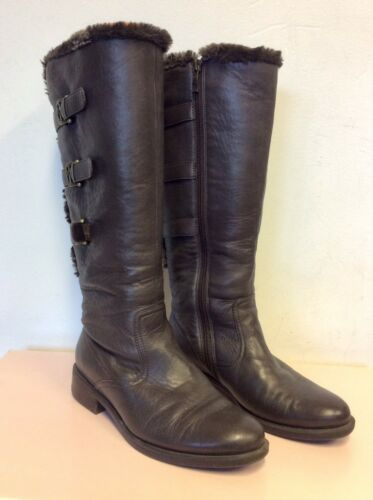 Boots Dark 4 5 Size Flat Leather 5 37 Trims Fur Ara Buckle Lined Brown A6wq44v8