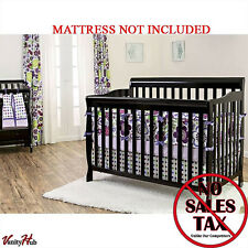 Convertible Baby Bed 5-in-1 Full Size Crib Black Nursery Bedroom Furniture New!