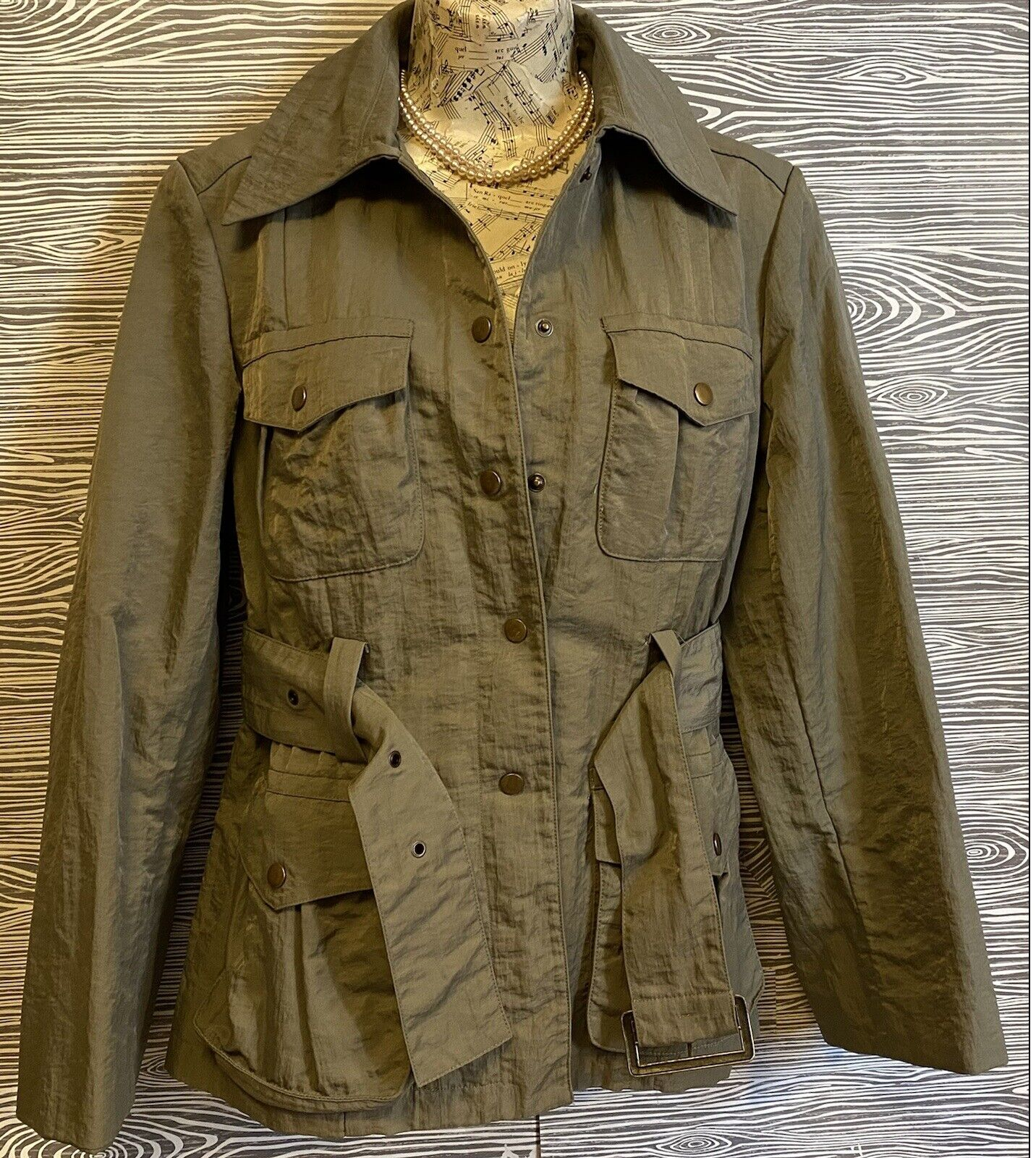 J Jill Olive Green SILKY BELTED Military TRENCH C… - image 5