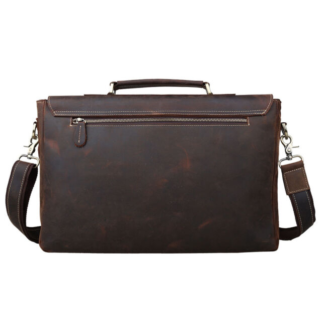 764108fecf TIDING Mens Crazy Horse Leather Tote Briefcases 15 Laptop Bags 80692 for  sale online