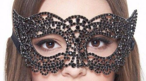 Fancy Black Crystal Venetian Masquerade Mask with Diamond Black Stone