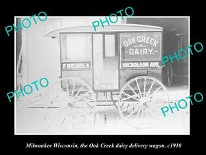 OLD-LARGE-HISTORIC-PHOTO-OF-MILWAUKEE-WISCONSIN-THE-OAK-CREEK-DAIRY-WAGON-1910